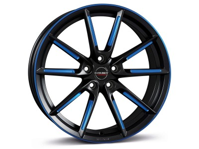 Borbet Sports LX Black Matt Spoke Rim Blue Polished Red Wheel